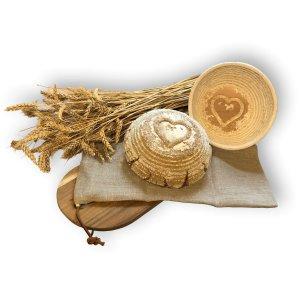 Bild 4 zu Artikel  Gärkörbchen rund für 500 bis 750g-Brot mit Stempel HERZ