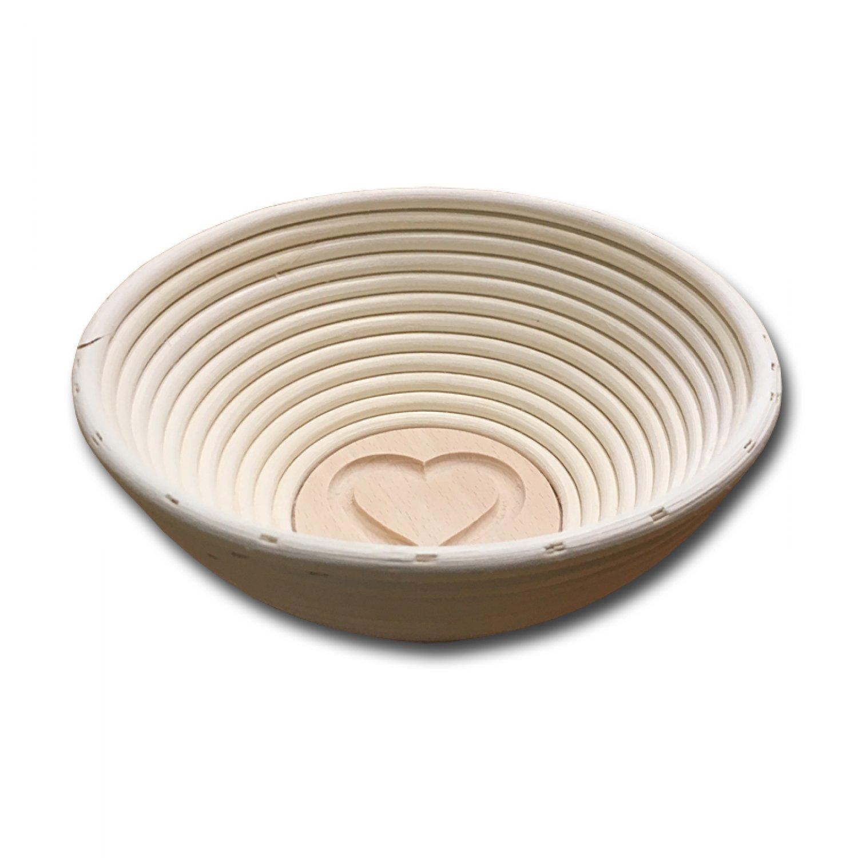 Bild zu  Gärkörbchen rund für 500 bis 750g-Brot mit Stempel HERZ