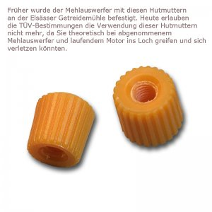 Bild zu 2 Stück Hutmutter für den Mehlauswerfer orange