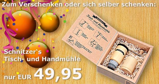 Schnitzer's Tisch- und Handmühle - Die sollte in keinem Haushalt fehlen!
